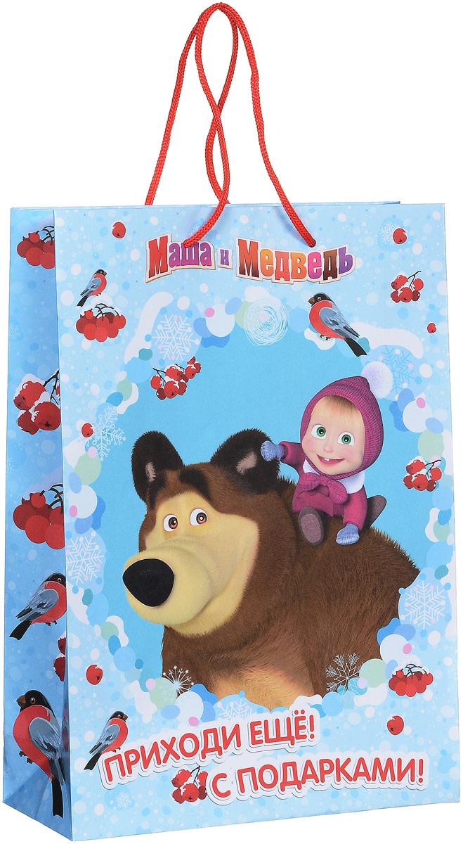Маша и Медведь Пакет подарочный Маша зимой 35 см х 25 см х 9 см