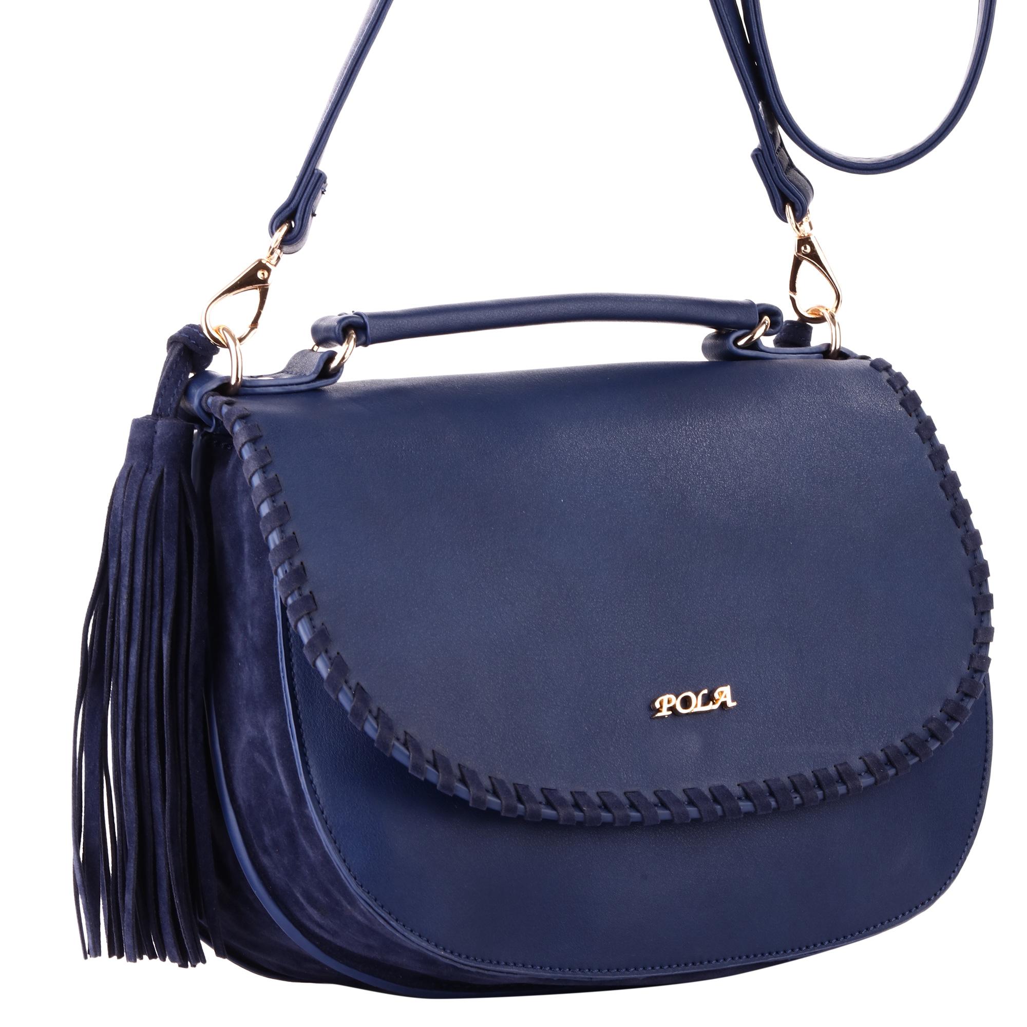 Сумка женская Pola, цвет: синий. 44144414Женская сумка Pola выполнена из экокожи. Состоит из двух независимых отделений, каждое из которых закрывается клапаном на магнитной кнопке. Клапаны расположены на внешнюю и внутреннюю стороны сумки. Внутри два открытых кармана и один небольшой карман на молнии. В комплекте съемный плечевой ремень, регулируемый по длине, максимальная высота 66 см. Высота ручки - 5 см. По бокам сумка украшена крупными кистями. Цвет фурнитуры - золото.