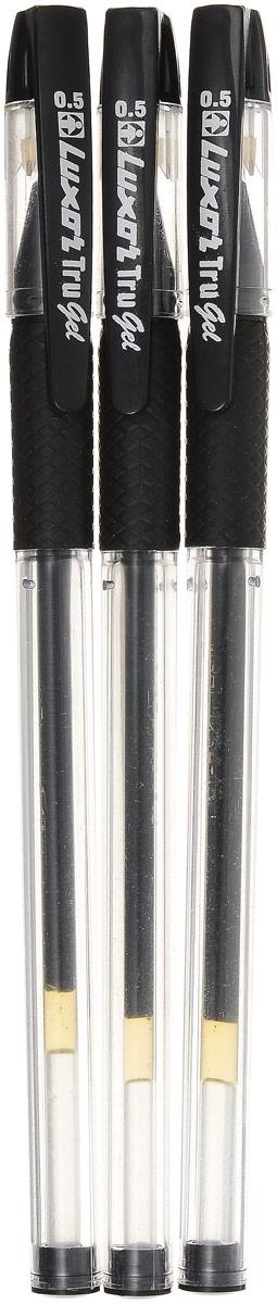 Luxor Набор гелевых ручек Tru Gel цвет черный 3 шт72523WDНабор гелевых ручек Luxor Tru Gel состоит из трех ручек с черными чернилами. Они отлично подойдут и для школьных занятий, и просто для подчеркивания.Ручки рисуют яркими насыщенными цветами. Корпуса с удобными каучуковыми вставками изготовлены из качественного прозрачного пластика. Колпачки ручек дополнены практичным клипом. Чернила на водной основе легко смываются с кожи и отстирываются с большинства тканей. Набор гелевых ручек станет незаменимой канцелярской принадлежностью для вас или для вашего ребенка.