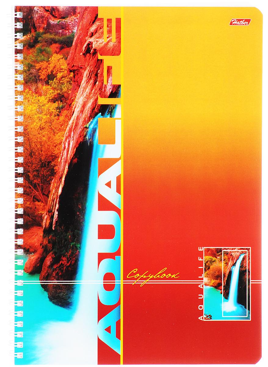 Hatber Тетрадь Аквалайф 96 листов в клетку цвет оранжевый72523WDТетрадь Hatber Аквалайф отлично подойдет для школьников, студентов и офисных работников.Обложка, выполненная из плотного картона, позволит сохранить тетрадь в аккуратном состоянии на протяжении всего времени использования. Лицевая сторона оформлена изображением водопада.Внутренний блок тетради, соединенный металлическим гребнем, состоит из 96 листов белой бумаги. Стандартная линовка в клетку голубого цвета без полей.