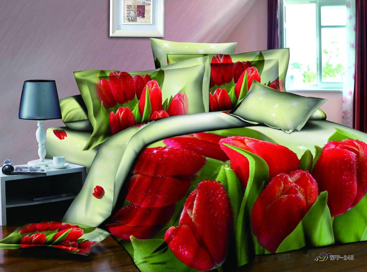 Комплект белья 3D Cleo Красные тюльпаны, 1,5-спальный, наволочки 50x70, 70x7015/624-3DКоллекция CLEO Сатин 3D – погружение в мир красок! Сатин - это ткань из 100% хлопка, сатинового переплетения, имеет гладкую, шелковистую лицевую поверхность. Сатин изготавливается из крученой хлопковой нити двойного плетения. Сатин обладает рядом преимуществ: приятен на ощупь, не электризуется и не скользит, прекрасно сохраняет форму и не мнется, отлично пропускает воздух, не садится при стирке, не утрачивает яркости красок, не вызывает раздражения. Благодаря уникальному способу нанесения рисунка на ткань создается эффект 3D, краски становятся ярче, а дизайны реалистичнее. Вы погружаетесь в уникальный мир цветов, пейзажей и фауны. Комплект состоит из пододеяльника, двух наволочек и простыни.