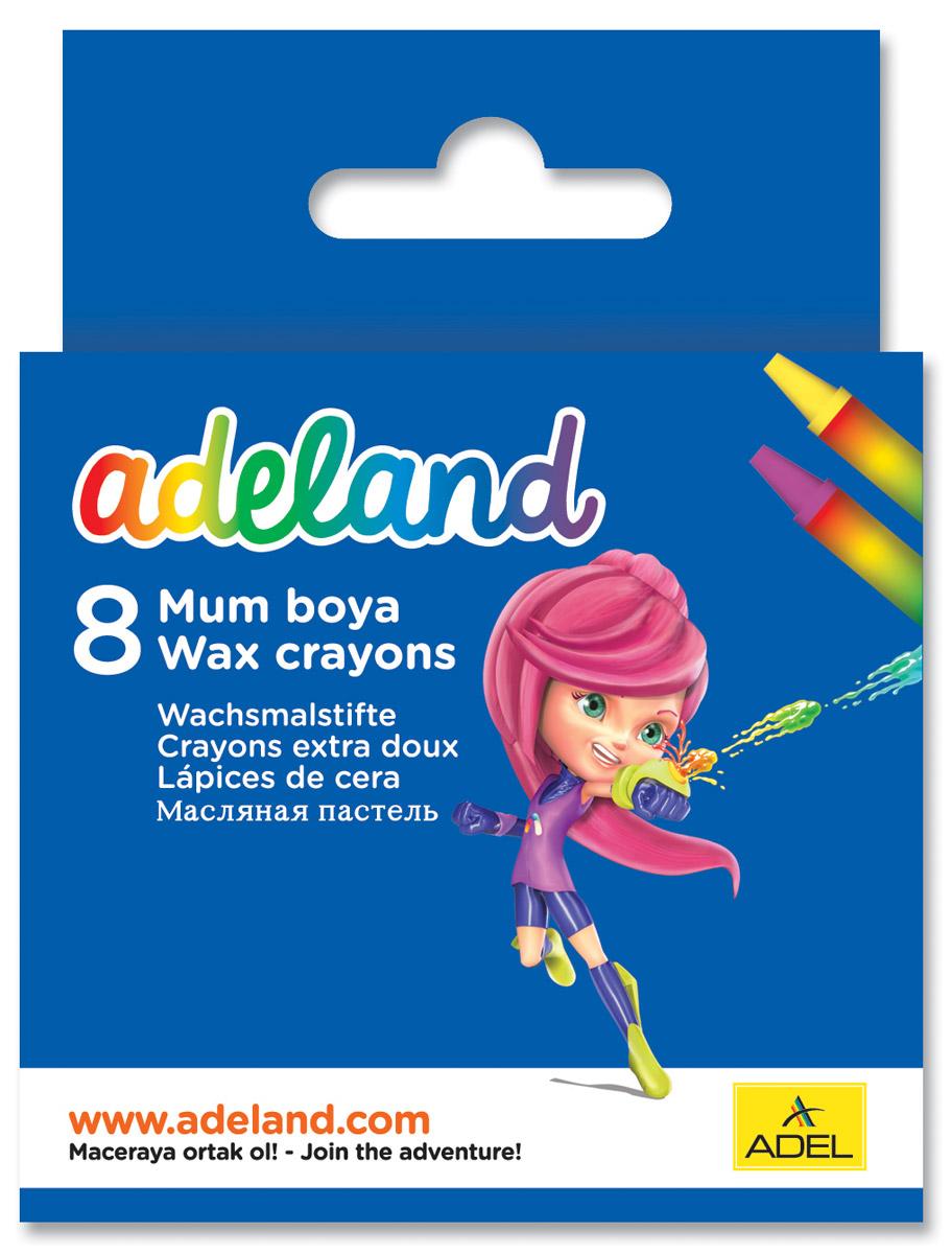 Adel Набор восковых мелков Adeland 8 шт228-2814-100Набор восковых мелков Adel Adeland создан специально для маленькой детской руки. Их можно использовать для рисования на бумаге, картоне, камне и деревянных поверхностях. Мелки не крошатся и выдерживают температуру до +60°С. При нанесении на бумагу они не теряют насыщенности цветов. Набор состоит из 8 мелков: фиолетового, желтого, оранжевого, красного, синего, зеленого, коричневого, черного цветов. При смешивании нескольких цветов получается богатая цветовая гамма. Не рекомендуется детям до 3-х лет.