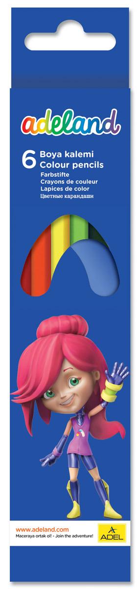 Adel Набор цветных карандашей Adeland 6 шт211-2345-107Цветные карандаши Adel Adeland созданы специально для маленькой детской руки. Специальная технология проклейки карандаша предотвращает повреждение грифеля при падении. Набор состоит из 6 ярких карандашей: желтого, красного, зеленого, голубого, черного и коричневого. Коробка оформлена изображением героини Аделии из турецкого мультфильма Renk Koruyuculari. Не рекомендуется детям до 3-х лет.