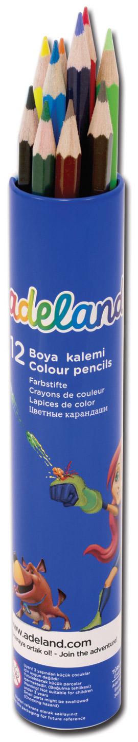 Adel Набор цветных карандашей Adeland 12 шт610842Цветные карандаши Adel Adeland созданы специально для маленькой детской руки. Специальная технология проклейки предотвращает повреждение грифеля при падении. Набор состоит из 12 ярких карандашей: голубого, синего, фиолетового, красного, оранжевого, желтого, розового, салатового, зеленого, черного, коричневого и светло-коричневого.Карандаши находятся в удобном алюминиевом тубусе.Не рекомендуется детям до 3-х лет.