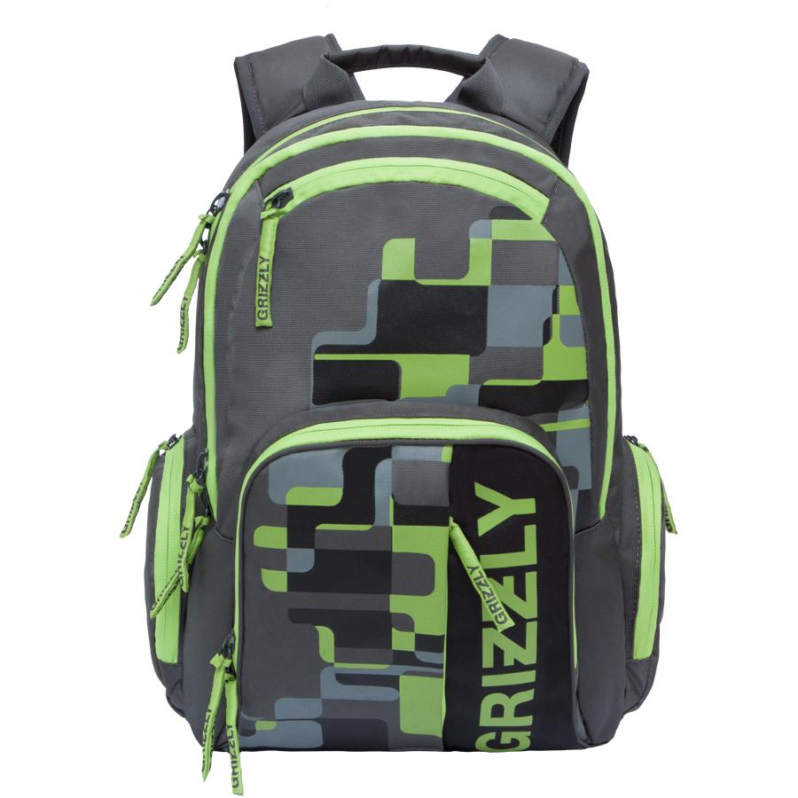 Рюкзак городской мужской Grizzly, цвет: темно-серый, салатовый. 22 л. RU-719-1/4RU-719-1/4Рюкзак городской Grizzl выполнен из высококачественного полиэстера и оформлен оригинальным фирменным принтом. Рюкзак имеет петлю для подвешивания и две удобные лямки, длина которых регулируется с помощью пряжек. На лицевой стороне расположено два объемных кармана на молнии, один из которых содержит накладные карманы для телефона и канцелярских товаров. Также на лицевой стороне находятся небольшие карманы на молнии для мелочей. Рюкзак оснащен двумя боковыми карманами на молнии. Изделие застегивается на застежку-молнию. Внутри расположено главное вместительное отделение, которое содержит вшитый карман на молнии.