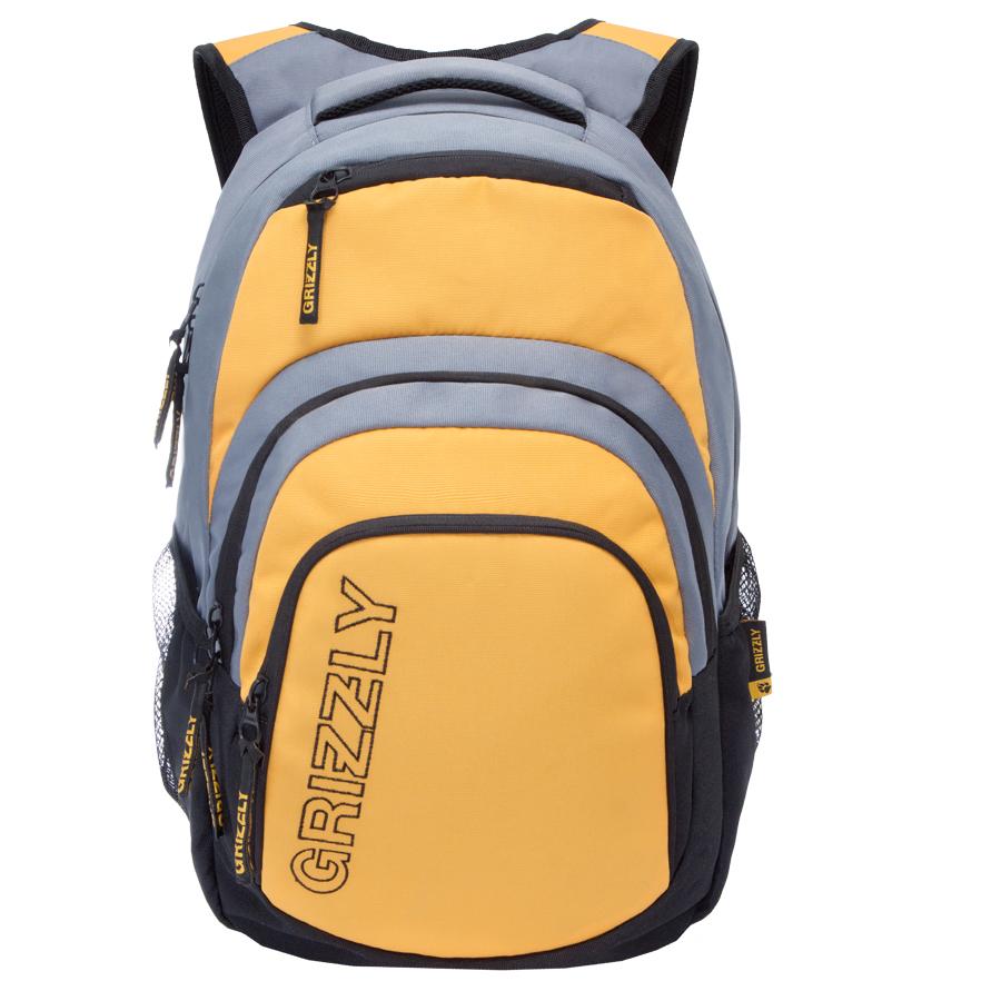 Рюкзак молодежный Grizzly, цвет: черный-желтый. 32 л. RU-704-1/1RU-704-1/1Рюкзак молодежный, одно отделение, карман на молнии на передней стенке, объемный карман на молнии на передней стенке, боковые карманы из сетки, внутренний составной пенал-органайзер, внутренний укрепленный карман для ноутбука, укрепленная спинка, карман быстрого доступа в верхней части рюкзака, мягкая укрепленная ручка, нагрудная стяжка-фиксатор, укрепленные лямки