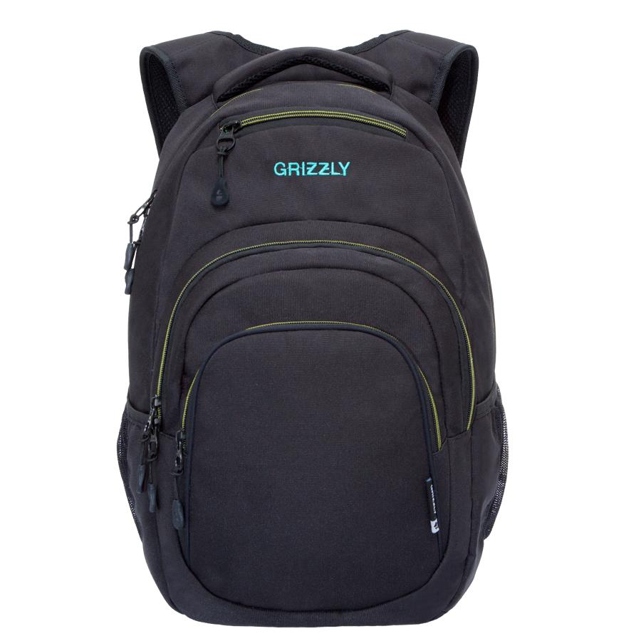 Рюкзак молодежный Grizzly, цвет: черный-бирюза. 32 л. RU-700-1/2RU-700-1/2Рюкзак молодежный, одно отделение, карман на молнии на передней стенке, объемный карман на молнии на передней стенке, боковые карманы из сетки, внутренний составной пенал-органайзер, внутренний укрепленный карман для ноутбука, укрепленная спинка, карман быстрого доступа в верхней части рюкзака, мягкая укрепленная ручка, нагрудная стяжка-фиксатор, укрепленные лямки.