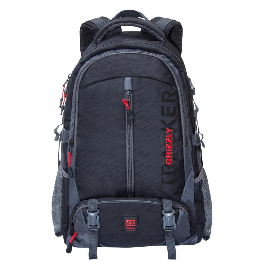 Рюкзак спортивный Grizzly, цвет: черный. 32 л. RU-617-2/4BP-001 BKУдобный спортивный рюкзак Grizzl выполнен из высококачественного нейлона и оформлен принтованными надписями. Рюкзак имеет петлю для подвешивания и две удобные лямки, длина которых регулируется с помощью пряжек. Изделие имеет два основных отделения, одно из которых дополнено карманом для ноутбука. Боковые стенки оснащены объемными карманами из сетки и боковыми фиксаторами. Передняя стенка имеет объемный и втачной карман на застежке-молнии. Спинка дополнена анатомической укрепленной вставкой и нагрудной стяжкой-фиксатором.