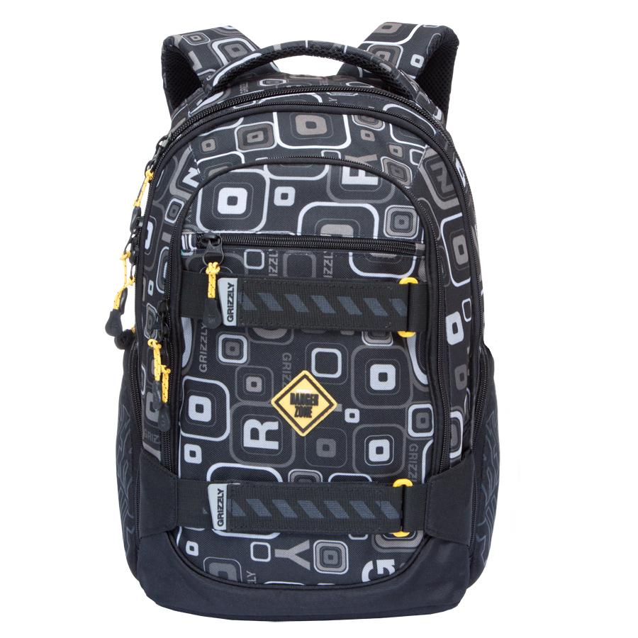 Рюкзак городской Grizzly, цвет: черный, серый. 24 л. RU-602-1/11BP-001 BKРюкзак городской Grizzl выполнен из высококачественного полиэстера и оформлен стильным принтом. Рюкзак имеет петлю для подвешивания и две удобные лямки, длина которых регулируется с помощью пряжек. Изделие имеет три основных отделения, которые дополнены стандартным карманом, внутренним подвесным карманом на молнии и составным пеналом-органайзером. Боковые стенки оснащены объемными карманами на молнии. Передняя стенка имеет втачной карман на застежке-молнии. Спинка дополнена анатомической укрепленной вставкой.