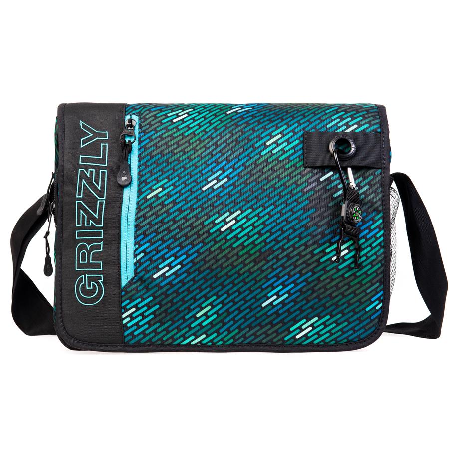 Сумка молодежная Grizzly, цвет: черный-бирюза. 14 л. MM-610-3/1MM-610-3/1Молодежная сумка, одно отделение, клапан на липучках с карманом на молнии, объемный передний карман на молнии, внутренний карман для ноутбука/планшета, внутренний карман на молнии, регулируемый плечевой ремень, брелок-игрушка