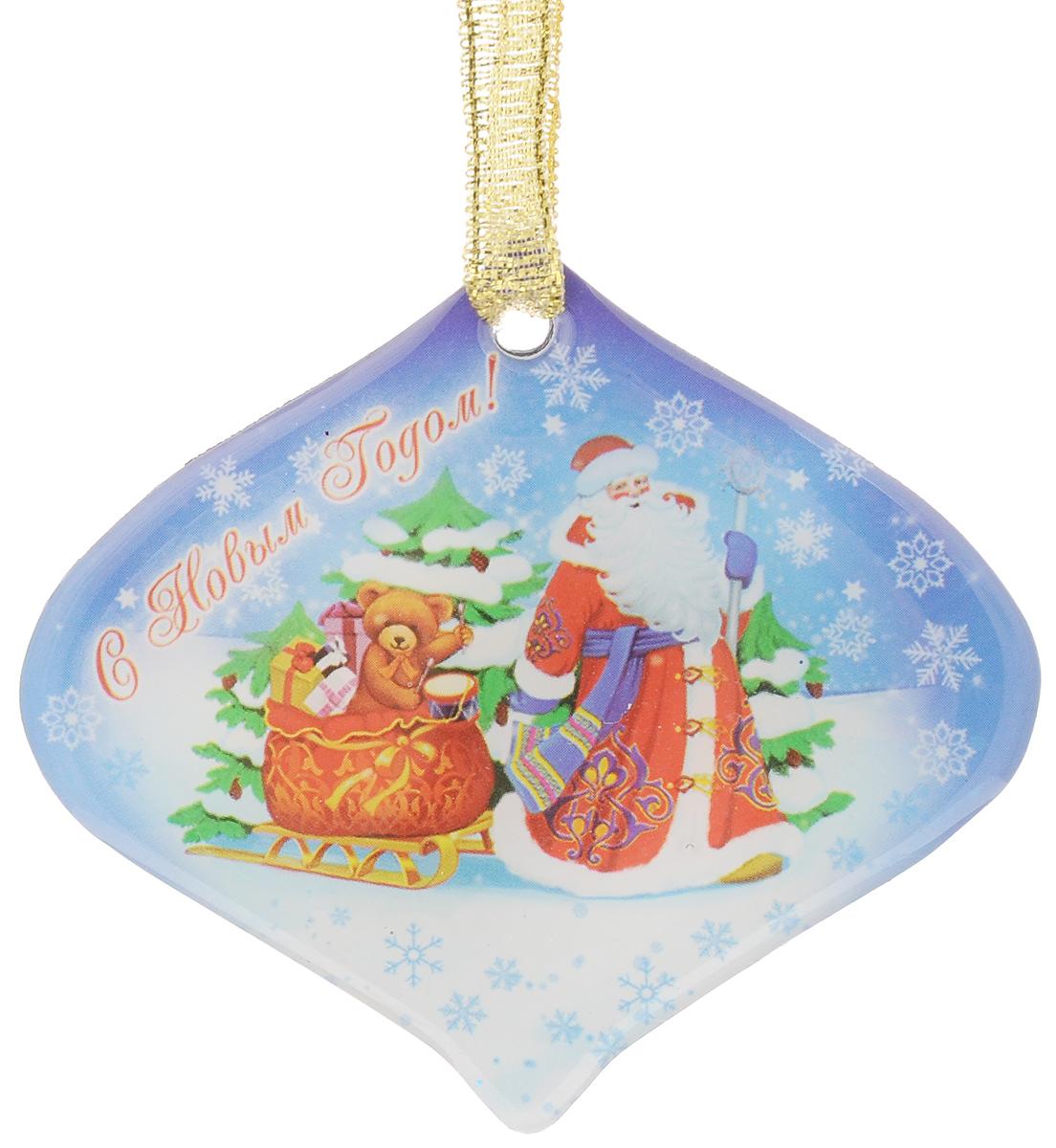 "Магнит декоративный Magic Time ""Дед мороз с мишкой в санях"", 6,6 х 6 см 38365"