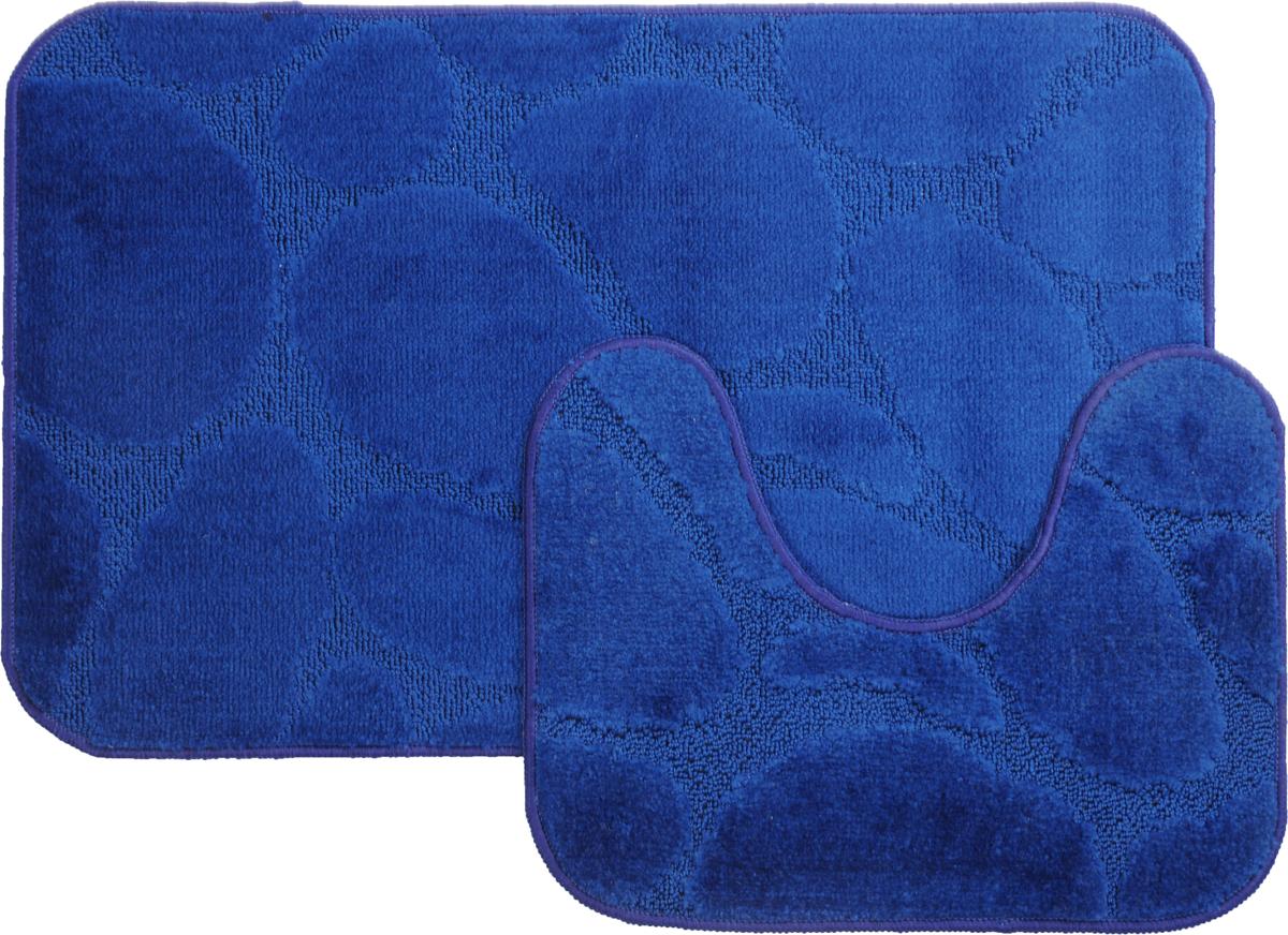 Набор ковриков для ванной MAC Carpet Рома. Камни, цвет: темно-синий, 50 х 80 см, 50 х 40 см, 2 шт21841Набор MAC Carpet Рома. Камни, выполненный из полипропилена, состоит из двух ковриков для ванной комнаты, один из которых имеет вырез под унитаз. Противоскользящее основание изготовлено из термопластичной резины. Коврики мягкие и приятные на ощупь, отлично впитывают влагу и быстро сохнут. Высокая износостойкость ковриков и стойкость цвета позволит вам наслаждаться покупкой долгие годы. Можно стирать вручную или в стиральной машине на деликатном режиме при температуре 30°С.