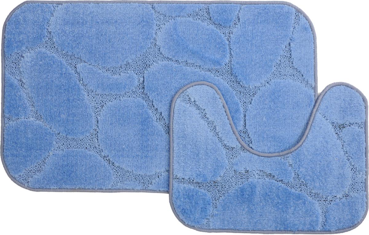 Набор ковриков для ванной MAC Carpet Рома. Камни, цвет: голубой, 50 х 80 см, 50 х 40 см, 2 шт21837Набор MAC Carpet Рома. Камни, выполненный из полипропилена, состоит из двух ковриков для ванной комнаты, один из которых имеет вырез под унитаз. Противоскользящее основание изготовлено из термопластичной резины. Коврики мягкие и приятные на ощупь, отлично впитывают влагу и быстро сохнут. Высокая износостойкость ковриков и стойкость цвета позволит вам наслаждаться покупкой долгие годы. Можно стирать вручную или в стиральной машине на деликатном режиме при температуре 30°С.