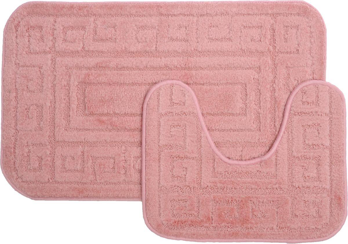 Набор ковриков для ванной MAC Carpet Рома. Версаче, цвет: розовый, 50 х 80 см, 50 х 40 см, 2 шт21856Набор MAC Carpet Рома. Версаче, выполненный из полипропилена, состоит из двух ковриков для ванной комнаты, один из которых имеет вырез под унитаз. Противоскользящее основание изготовлено из термопластичной резины. Коврики мягкие и приятные на ощупь, отлично впитывают влагу и быстро сохнут. Высокая износостойкость ковриков и стойкость цвета позволит вам наслаждаться покупкой долгие годы. Можно стирать вручную или в стиральной машине на деликатном режиме при температуре 30°С.