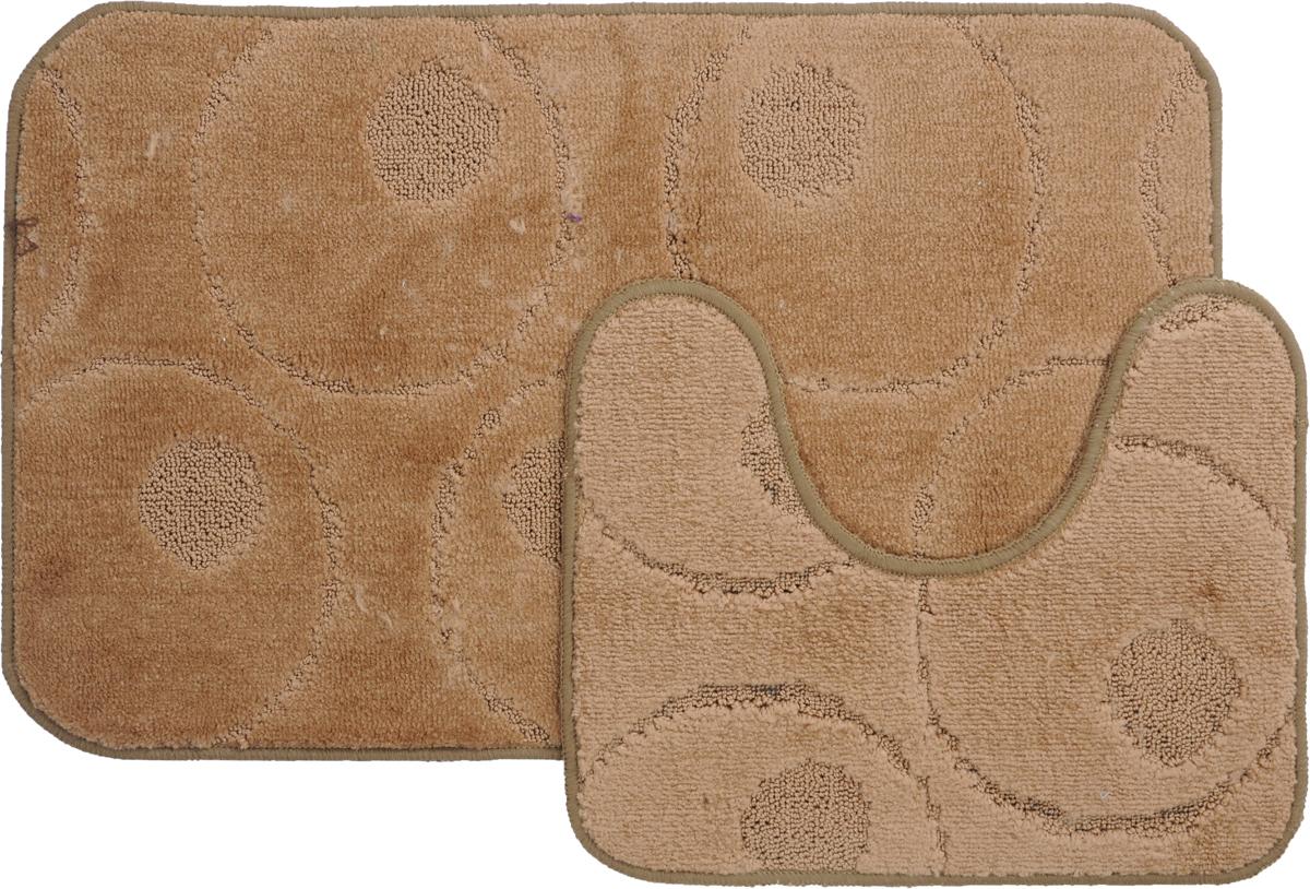 Набор ковриков для ванной MAC Carpet Рома. Круги, цвет: коричневый, 50 х 80 см, 50 х 40 см, 2 шт21778Набор MAC Carpet Рома. Круги, выполненный из полипропилена, состоит из двух ковриков для ванной комнаты, один из которых имеет вырез под унитаз. Противоскользящее основание изготовлено из термопластичной резины. Коврики мягкие и приятные на ощупь, отлично впитывают влагу и быстро сохнут. Высокая износостойкость ковриков и стойкость цвета позволит вам наслаждаться покупкой долгие годы. Можно стирать вручную или в стиральной машине на деликатном режиме при температуре 30°С.