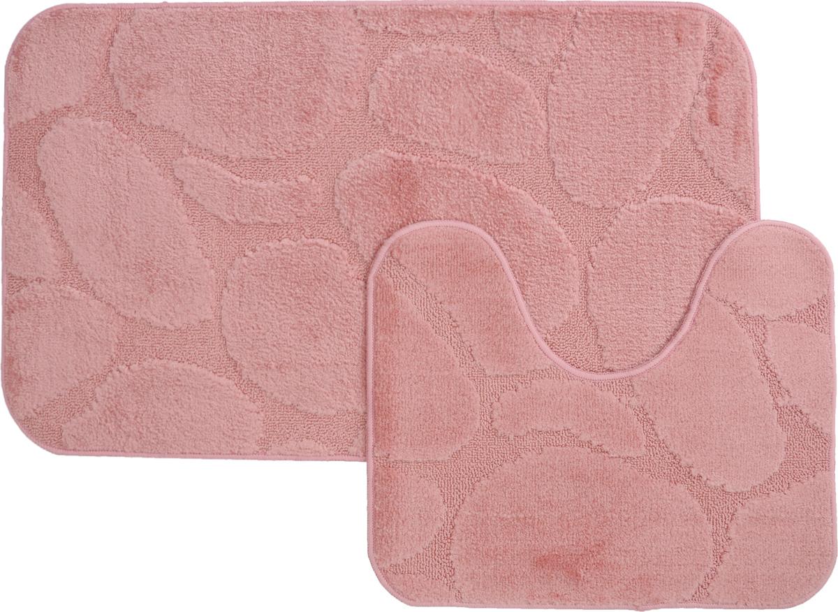 Набор ковриков для ванной MAC Carpet Рома. Камни, цвет: розовый, 60 х 100 см, 50 х 60 см, 2 шт391602Набор MAC Carpet Рома. Камни, выполненный из полипропилена, состоит из двух ковриков для ванной комнаты, один из которых имеет вырез под унитаз. Противоскользящее основание изготовлено из термопластичной резины. Коврики мягкие и приятные на ощупь, отлично впитывают влагу и быстро сохнут. Высокая износостойкость ковриков и стойкость цвета позволит вам наслаждаться покупкой долгие годы. Можно стирать вручную или в стиральной машине на деликатном режиме при температуре 30°С.