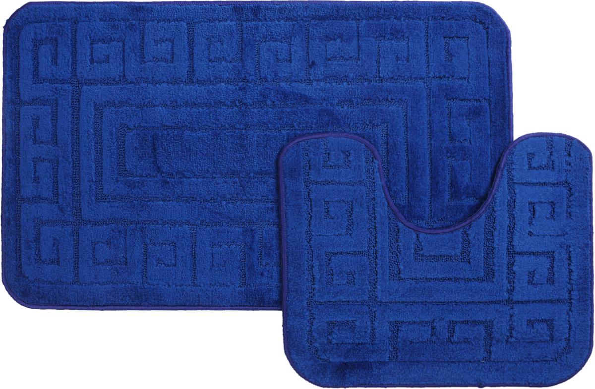 """Набор ковриков для ванной MAC Carpet """"Рома. Версаче"""", цвет: темно-синий, 60 х 100 см, 50 х 60 см, 2 шт 21871"""
