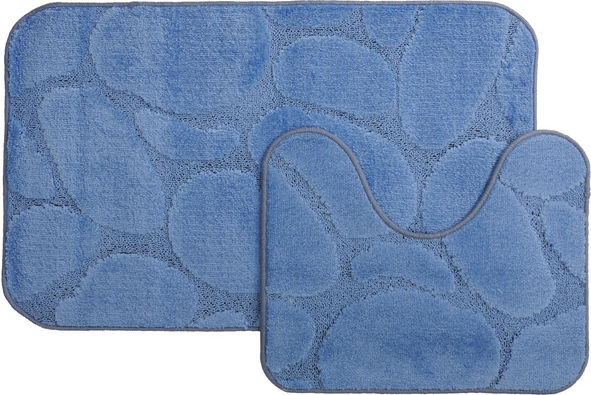 Набор ковриков для ванной MAC Carpet Рома. Камни, цвет: синий, 60 х 100 см, 50 х 60 см, 2 шт21826Набор MAC Carpet Рома. Камни, выполненный из полипропилена, состоит из двух ковриков для ванной комнаты, один из которых имеет вырез под унитаз. Противоскользящее основание изготовлено из термопластичной резины. Коврики мягкие и приятные на ощупь, отлично впитывают влагу и быстро сохнут. Высокая износостойкость ковриков и стойкость цвета позволит вам наслаждаться покупкой долгие годы. Можно стирать вручную или в стиральной машине на деликатном режиме при температуре 30°С.