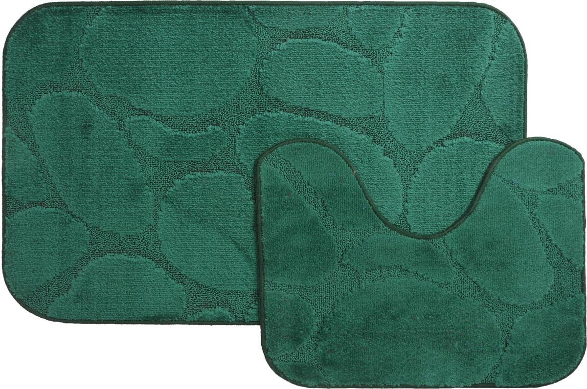 Набор ковриков для ванной MAC Carpet Рома. Камни, цвет: темно-зеленый, 60 х 100 см, 50 х 60 см, 2 шт21834Набор MAC Carpet Рома. Камни, выполненный из полипропилена, состоит из двух ковриков для ванной комнаты, один из которых имеет вырез под унитаз. Противоскользящее основание изготовлено из термопластичной резины. Коврики мягкие и приятные на ощупь, отлично впитывают влагу и быстро сохнут. Высокая износостойкость ковриков и стойкость цвета позволит вам наслаждаться покупкой долгие годы. Можно стирать вручную или в стиральной машине на деликатном режиме при температуре 30°С.