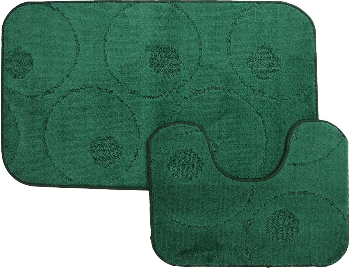 Набор ковриков для ванной MAC Carpet Рома. Круги, цвет: темно-зеленый, 60 х 100 см, 50 х 60 см, 2 шт21795Набор MAC Carpet Рома. Круги, выполненный из полипропилена, состоит из двух ковриков для ванной комнаты, один из которых имеет вырез под унитаз. Противоскользящее основание изготовлено из термопластичной резины. Коврики мягкие и приятные на ощупь, отлично впитывают влагу и быстро сохнут. Высокая износостойкость ковриков и стойкость цвета позволит вам наслаждаться покупкой долгие годы. Можно стирать вручную или в стиральной машине на деликатном режиме при температуре 30°С. тиральной машине на деликатном режиме при температуре 30°С.