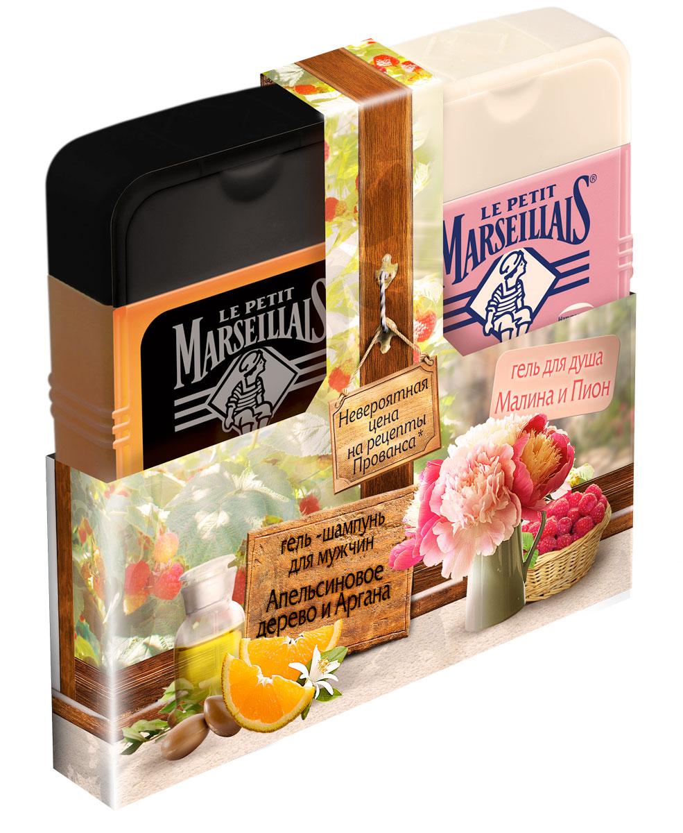 Le Petit Marseillais Гель-шампунь для мужчин Апельсиновое дерево и Аргана 250 мл + Гель для душа Малина и пион 250 мл 303412435