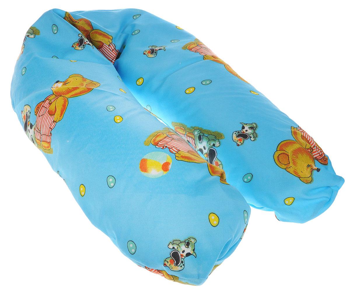 Selby Подушка для кормления универсальная 57 х 80 см 5536п_мишка, собачка синий