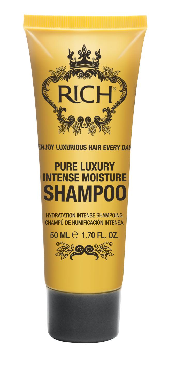 Rich Интенсивный увлажняющий шампунь, 50 мл4605845001449Шампунь для ежедневного применения. Интенсивно увлажняет и питает волосы, придает блеск и помогает улучшить состояние волос• Проникает внутрь волоса и утолщает его изнутри• Накапливается внутри волокна, делает волосы более густыми надолго• Пышные роскошные волосы после 5 применений