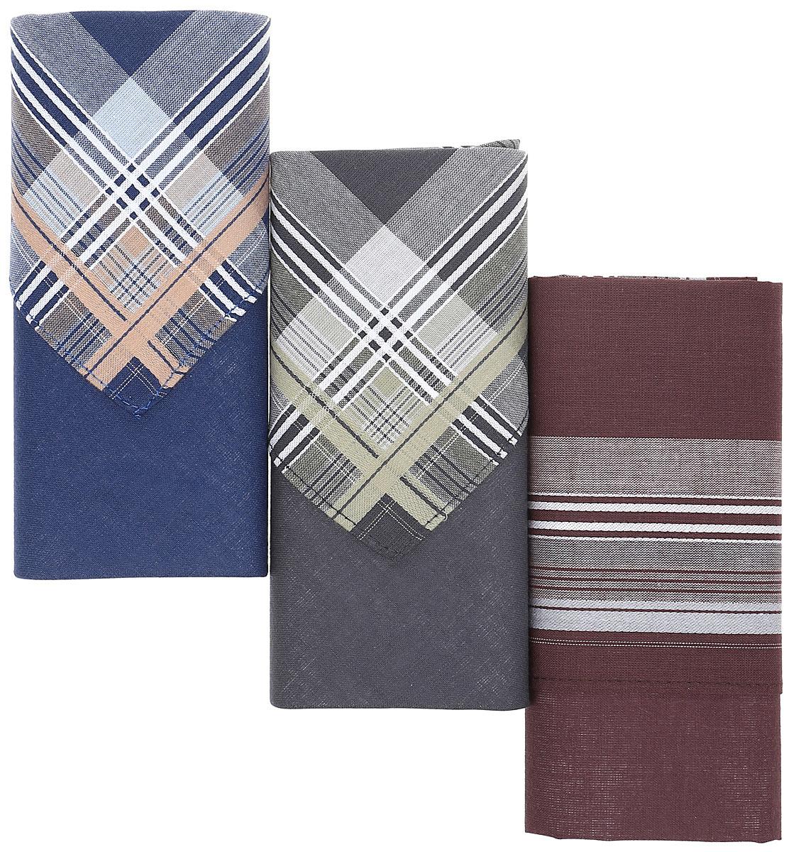Платок носовой мужской Zlata Korunka, цвет: мультиколор, 3 шт. М54А. Размер 39 х 39 см39864|Серьги с подвескамиНосовые платки изготовлены из натурального хлопка, приятны в использовании, хорошо стираются, материал не садится и отлично впитывает влагу. В упаковке 3 штуки.