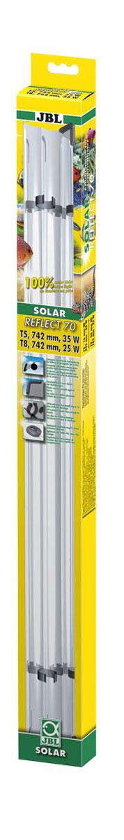 Отражатель JBL Solar Reflect 70, для люминесцентных ламп Т8 15 Вт/Т5 24 Вт, длина 70 cмJBL6173200Отражатель JBL Solar Reflect 70 M-образной формы увеличивает светоотдачу, так как находящаяся в центре лампа не загораживает отраженные от рефлектора лучи. Изделие оснащено установленными пластиковыми клипсами и защитными уголками. Отражатель выполнен из коррозионностойкого, прочного, зеркального алюминия. При использовании отражателя мощность лампы удваивается. Лампа не входит в комплект. Прекрасно подходит для аквариумов и террариумов. В комплект входя клипсы для Т5 ламп. Длина отражателя: 70 см. Мощность для ламп: 15 Вт (Т8), 24 Вт(Т5).