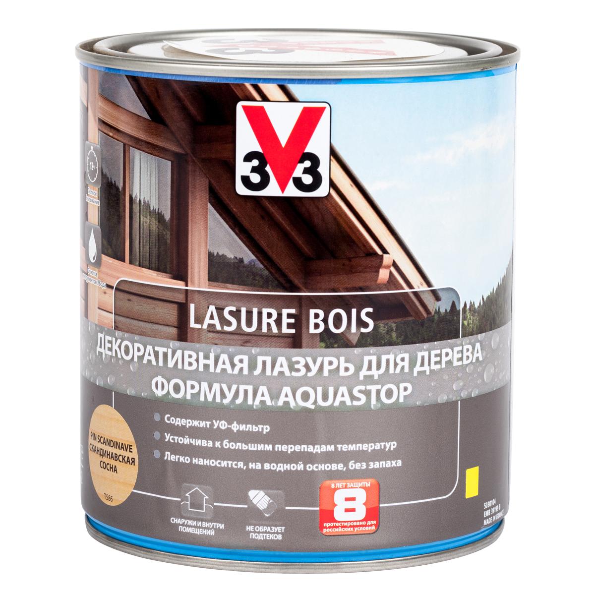 """Лазурь для дерева декоративная V33 """"Aquastop"""", цвет: скандинавская сосна, на водной основе, 750 мл 107825"""
