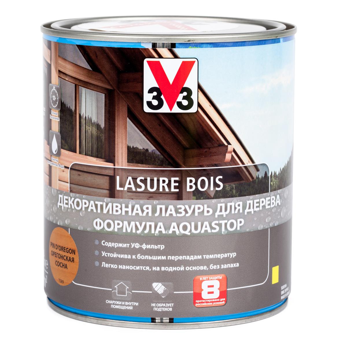 """Лазурь для дерева декоративная V33 """"Aquastop"""", цвет: орегонская сосна, на водной основе, 750 мл 107828"""