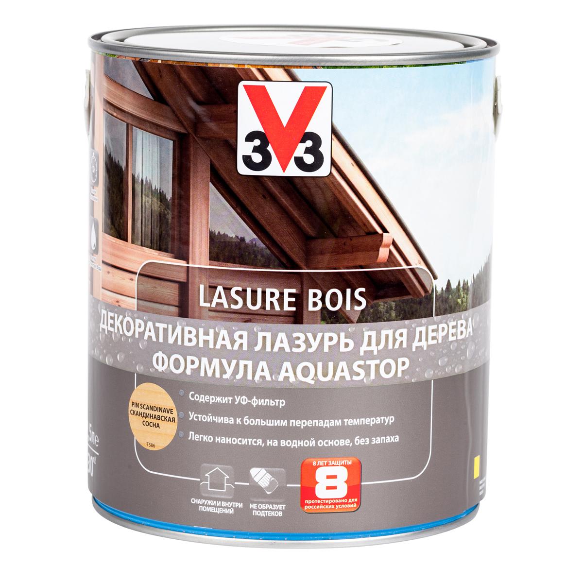 """Лазурь для дерева декоративная V33 """"Aquastop"""", цвет: скандинавская сосна, на водной основе, 2,5 л 107833"""