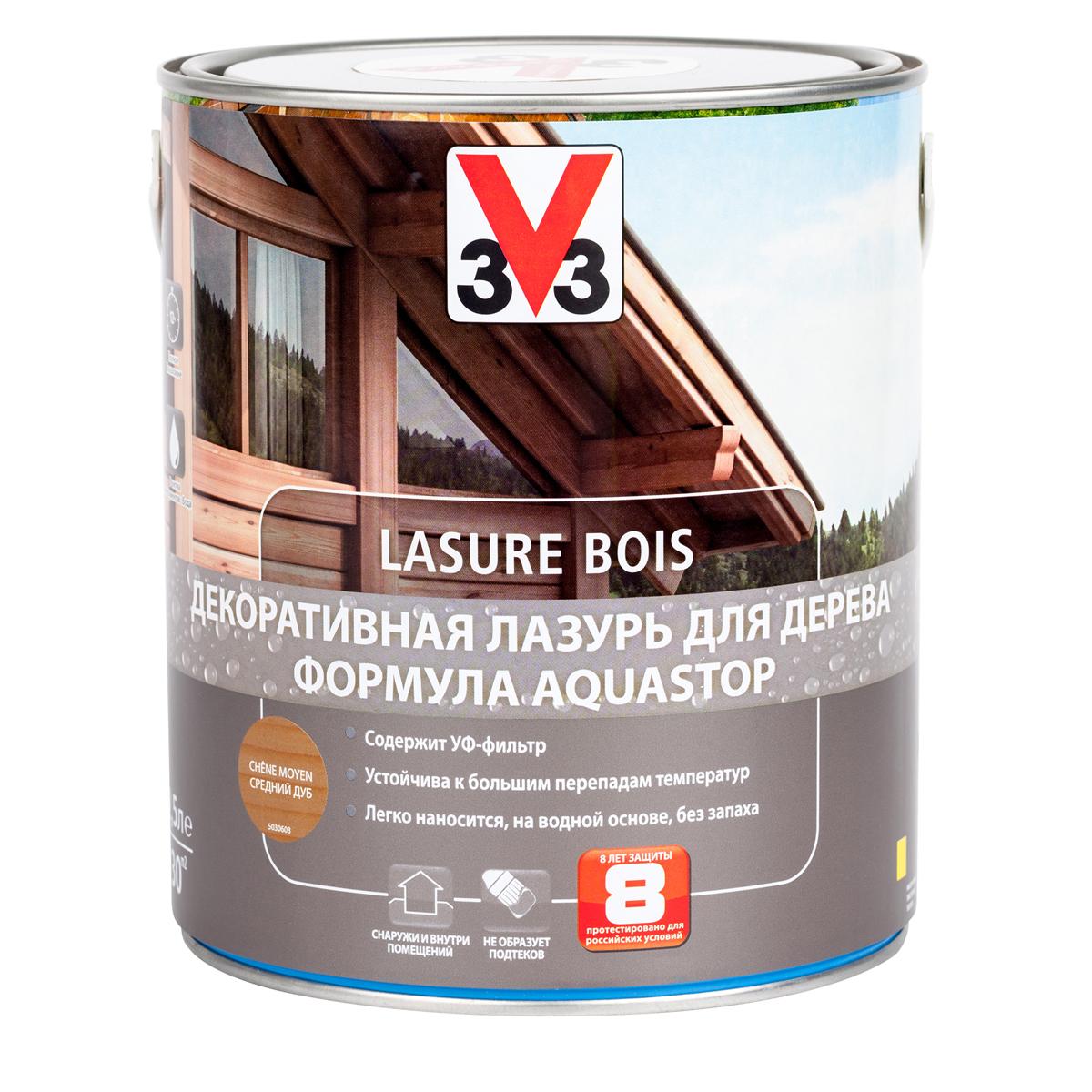 """Лазурь для дерева декоративная V33 """"Aquastop"""", цвет: дуб средний, на водной основе, 2,5 л 107837"""