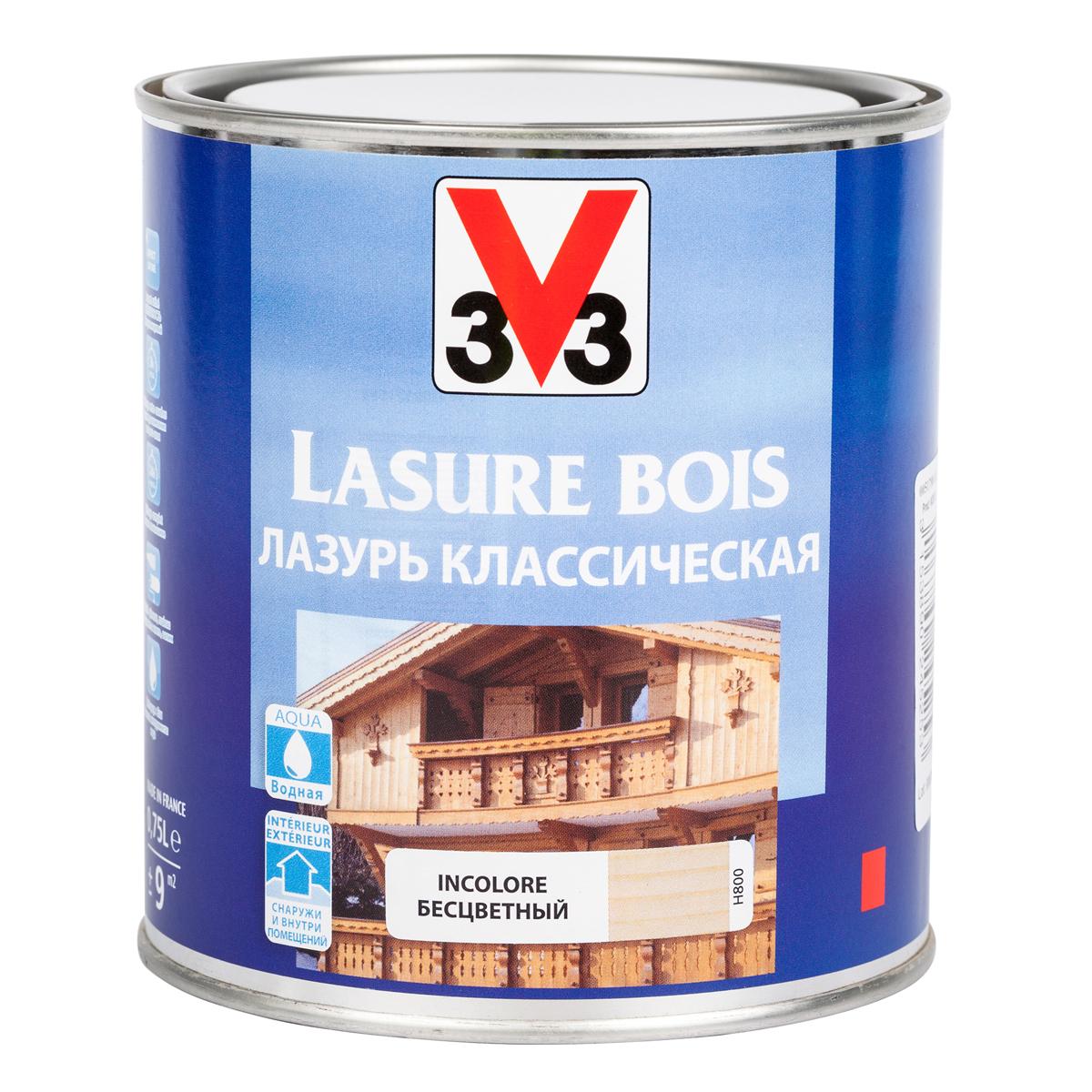 """Лазурь для защиты древесины V33 """"Классическая"""", цвет: бесцветный, на водной основе, 750 мл 51788"""