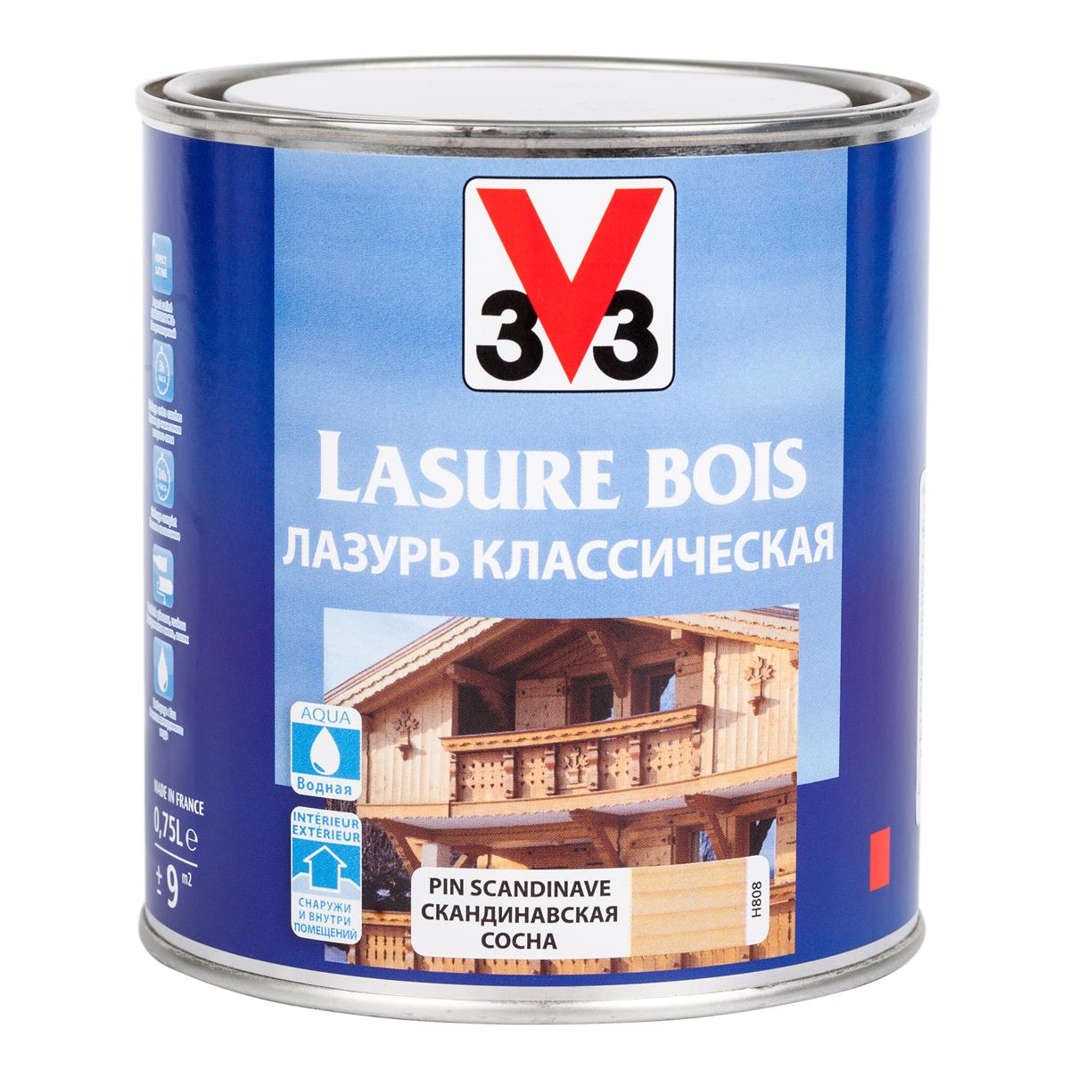 """Лазурь для защиты древесины V33 """"Классическая"""", цвет: скандинавская сосна, на водной основе, 750 мл 51806"""