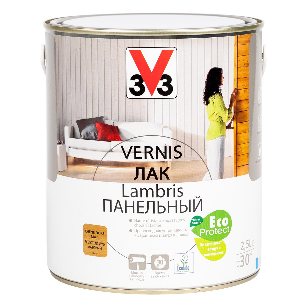 """Лак панельный """"V33"""", цвет: дуб золотой, 2,5 л 65589"""