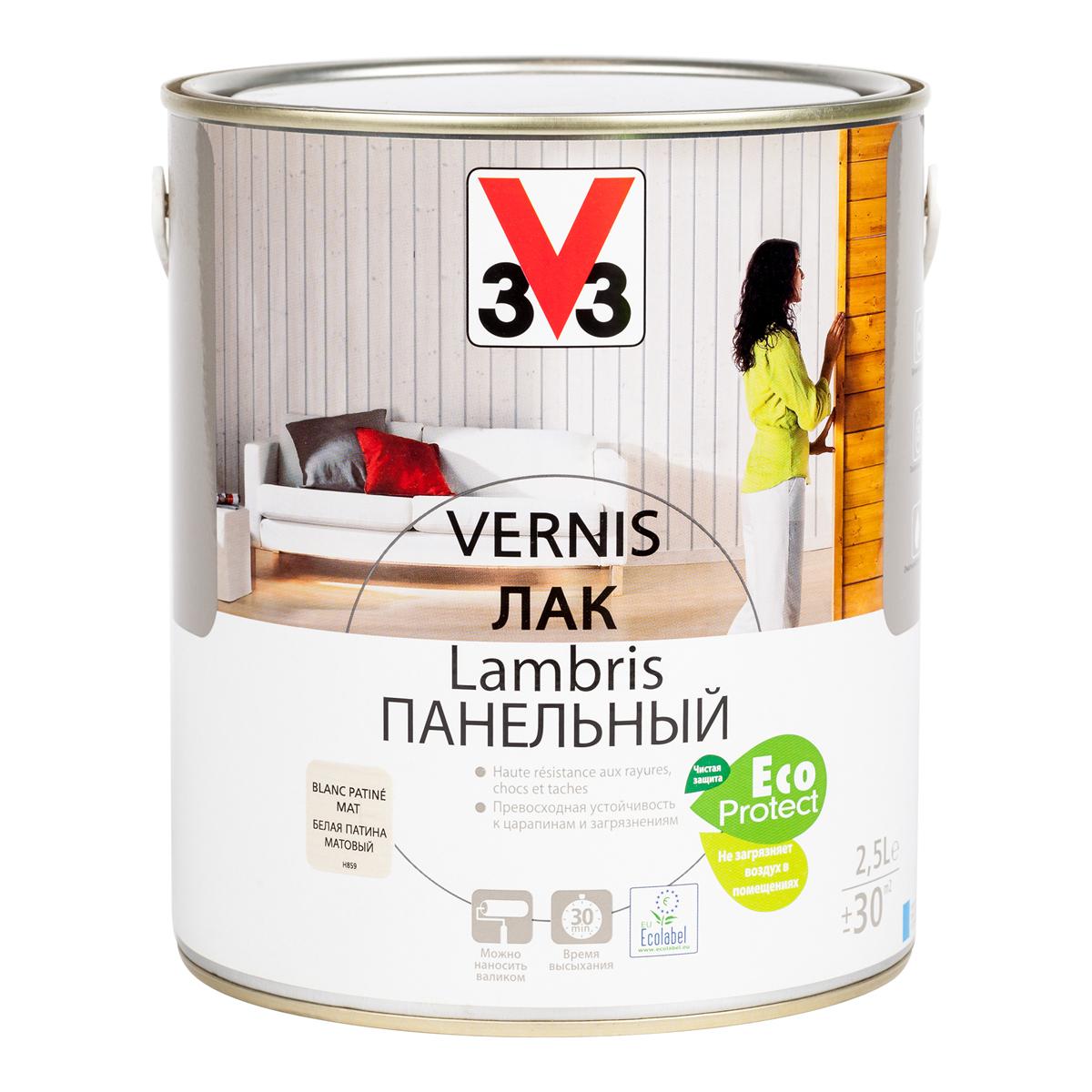 """Лак панельный """"V33"""", цвет: белый, 2,5 л 65591"""