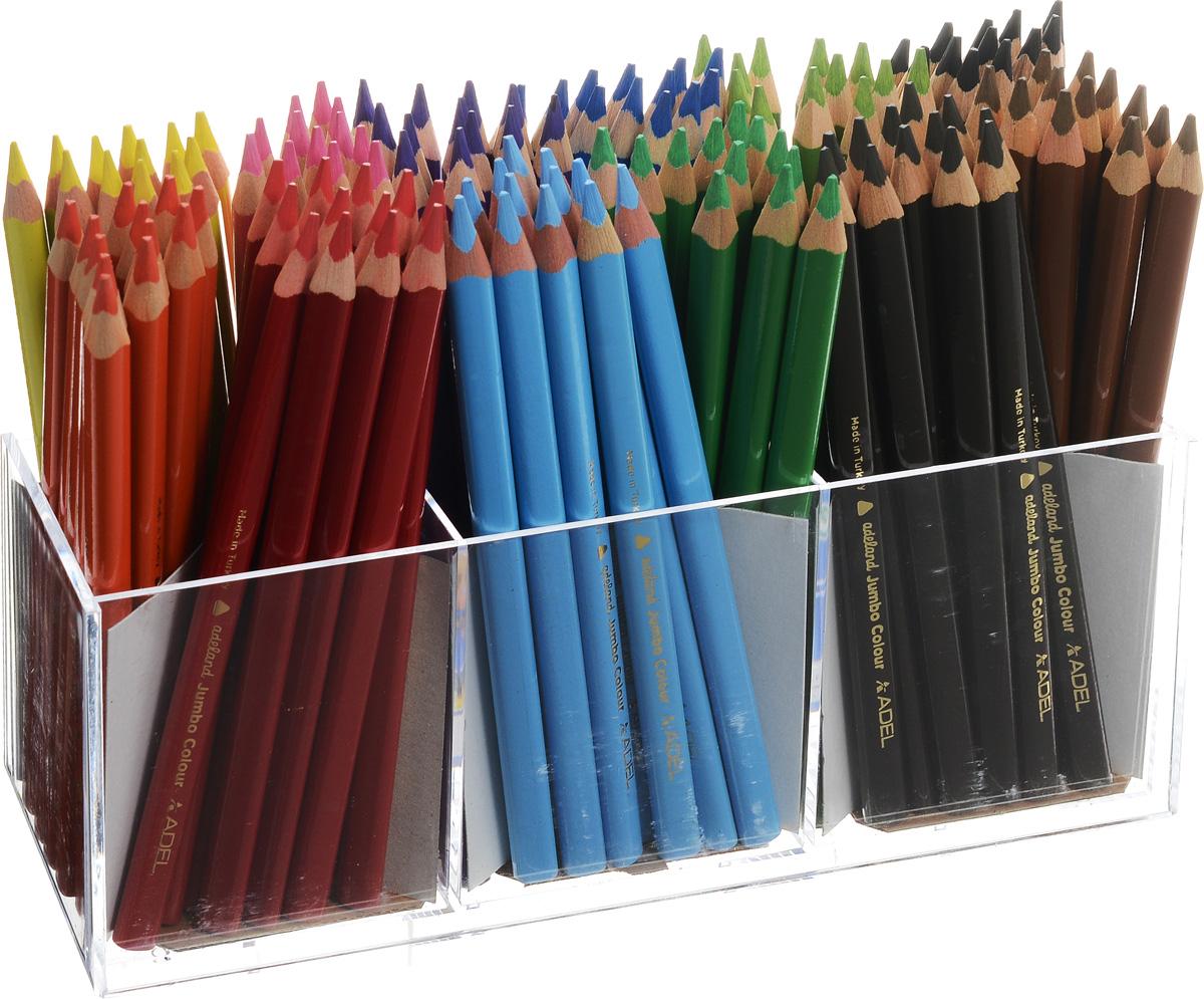 Adel Набор цветных карандашей Adeland Jumbo 144 шт211-7510-100Набор цветных карандашей Adel Adeland Jumbo создан специально для маленьких детских ручек. Эргономичная трехгранная форма позволяет рисовать ими в течение долгого времени не ощущая усталости. Набор состоит из 144 легко затачиваемых карандашей 12 ярких цветов. В комплект входит также пластиковая подставка для хранения карандашей. Коробка оформлена изображением персонажа Hiro из турецкого мультфильма Renk Koruyuculari. Не рекомендуется детям до 3-х лет.