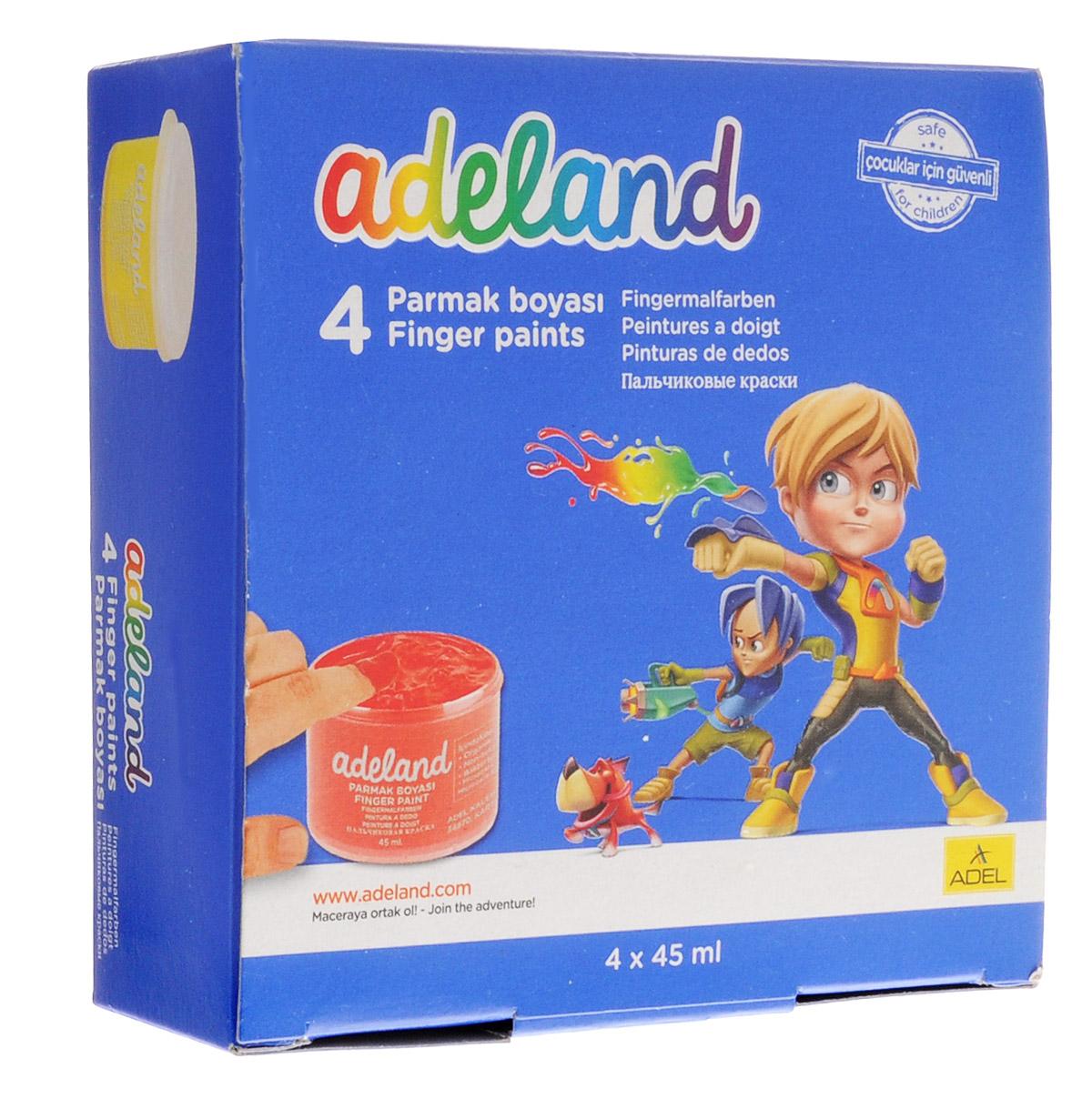 Adel Краски пальчиковые Adeland 4 цвета234-0630-100Водорастворимые яркие краски Adel Adeland предназначены для рисования пальцами, кисточкой или губкой на бумаге и картоне. Путем смешивания красок может получится неограниченное количество тонов. Краски упакованы в картонную коробку и находятся в пластиковых баночках. В комплект входит 4 насыщенных цвета: желтый, красный, синий, зеленый.