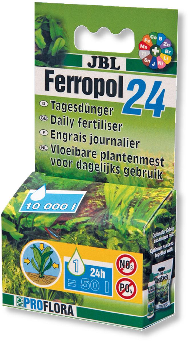 Удобрение для аквариумных растений JBL Ferropol 24, комплексное, 10 мл (10,16 г)JBL2018000Удобрение для аквариумных растений JBL Ferropol 24 содержит все чувствительные микроэлементы и другие важные вещества. Только ежедневное внесение этих веществ обеспечивает великолепное процветание всех аквариумных растений. Многие жизненно важные микроэлементы не могут вноситься про запас, так как они очень чувствительны и в аквариумной среде очень быстро входят в другие соединения, исчезая или становясь недосягаемыми для растений. Вместе с базисными удобрениями все аквариумные растения оптимально обеспечиваются минеральными питательными веществами и микроэлементами. Дополнительно рекомендуется внесение СО2. Не содержит фосфаты и нитраты, благоприятные для роста водорослей. Применение: ежедневно после включения освещения одну каплю JBL Ferropol 24 на 50 л. аквариумной воды. В особых случаях при повышенной потребности рекомендуется 2 капли на 50 л. Особыми случаями могут быть: быстро растущие растения, яркое освещение, красные растения, сильная...