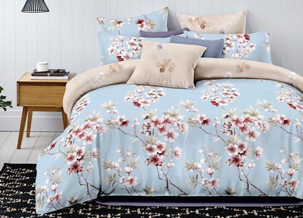 Комплект белья Primavera Classic Ветка сакуры, семейный, наволочки 70х70, цвет: голубой88805