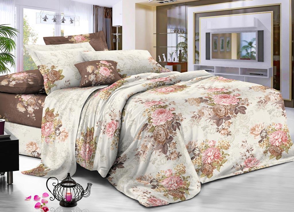 """Комплект белья Primavera Classic """"Розы"""", семейный, наволочки 70х70, цвет: бежевый, коричневый"""