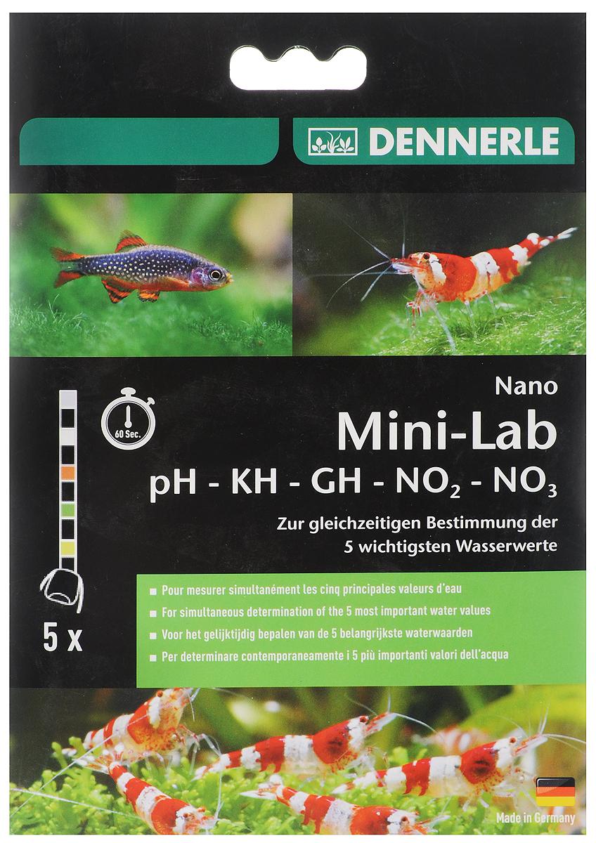 Набор тестов для аквариумной воды Dennerle Nano MiniLab, для определения пяти показателей, 5 штDEN5869Набор тестов Dennerle Nano MiniLab измеряет пять основных показателей состояния пресной аквариумной воды: уровень рН, содержание нитритов и нитратов, а также общую и карбонатную жесткость воды. Результат проявляется в течении 60 секунд. В комплект входит 6 тестовых полосок.