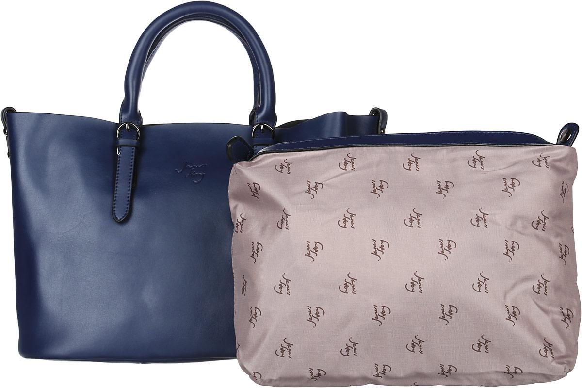 Сумка женская Janes Story, цвет: синий. JK-201-60JK-201-60Стильная женская сумка Janes Story изготовлена из натуральной кожи. Изделие имеет одно отделение. Внутри расположен карман на молнии. Модель дополнена большим съемным карманом, который пристегивается к сумке при помощи кнопок, внутри кармана расположены два накладных кармана и один прорезной на молнии. Закрывается изделие на застежку-молнию. Сумка оснащена двумя удобными ручками. Модель предназначена для ношения на руке, но так же имеется дополнительный съемный наплечный ремень. Изделие украшено надписью с названием бренда. Роскошная сумка внесет элегантные нотки в ваш образ и подчеркнет ваше отменное чувство стиля.