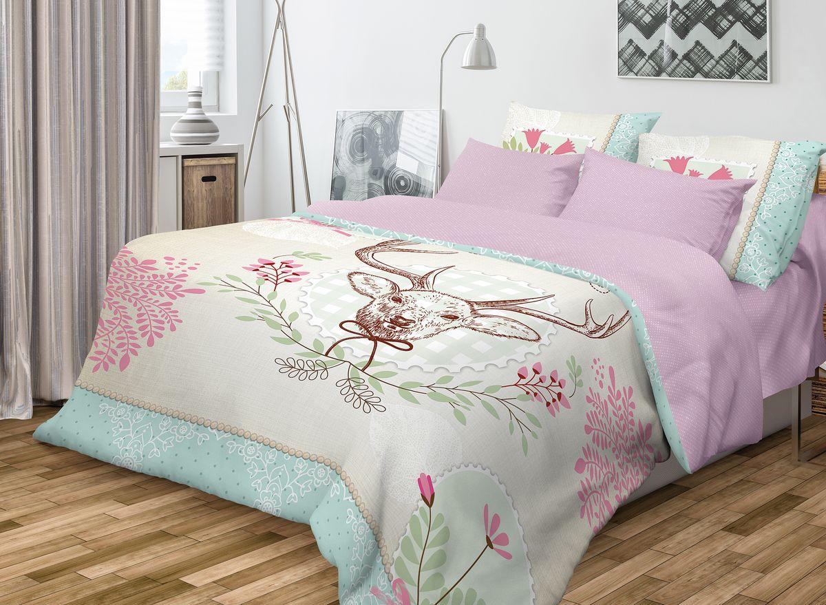 Комплект белья Волшебная ночь Forest, 1,5-спальный, наволочки 70x70, цвет: сиреневый701872Роскошный комплект постельного белья Волшебная ночь Forest выполнен из натурального ранфорса (100% хлопка) и украшен оригинальным рисунком. Комплект состоит из пододеяльника, простыни и двух наволочек. Ранфорс - это новая современная гипоаллергенная ткань из натуральных хлопковых волокон, которая прекрасно впитывает влагу, очень проста в уходе, а за счет высокой прочности способна выдерживать большое количество стирок. Высочайшее качество материала гарантирует безопасность. Доверьте заботу о качестве вашего сна высококачественному натуральному материалу.