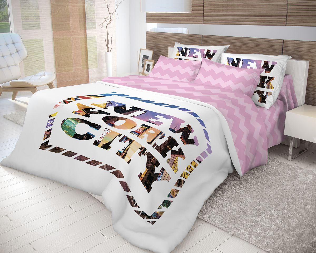 Комплект белья Волшебная ночь New York, 1,5-спальный, наволочки 70x70, цвет: белый, розовый702180Роскошный комплект постельного белья Волшебная ночь New York выполнен из натурального ранфорса (100% хлопка) и украшен оригинальным рисунком. Комплект состоит из пододеяльника, простыни и двух наволочек. Ранфорс - это новая современная гипоаллергенная ткань из натуральных хлопковых волокон, которая прекрасно впитывает влагу, очень проста в уходе, а за счет высокой прочности способна выдерживать большое количество стирок. Высочайшее качество материала гарантирует безопасность. Доверьте заботу о качестве вашего сна высококачественному натуральному материалу.