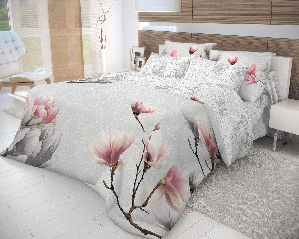 Комплект белья Волшебная ночь Cameo, евро, наволочки 70x70, цвет: серый, розовый702258Роскошный комплект постельного белья Волшебная ночь Cameo выполнен из натурального ранфорса (100% хлопка) и украшен оригинальным рисунком. Комплект состоит из пододеяльника, простыни и двух наволочек. Ранфорс - это новая современная гипоаллергенная ткань из натуральных хлопковых волокон, которая прекрасно впитывает влагу, очень проста в уходе, а за счет высокой прочности способна выдерживать большое количество стирок. Высочайшее качество материала гарантирует безопасность. Доверьте заботу о качестве вашего сна высококачественному натуральному материалу.
