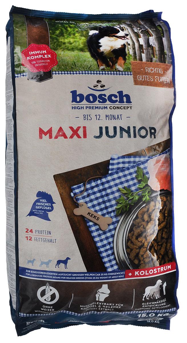 Корм сухой Bosch Junior Maxi для щенков гигантских пород, 15 кг16545_щенки/гигантские породыКорм Bosch Junior Maxi с высоким содержанием белка, витаминов и минералов поддерживает оптимальное развитие щенков до года с учетом их высоких потребностей в питательных веществах и способствует правильному формированию скелета и зубов. Увеличенное содержание омега-3 жирных кислот оказывает положительное воздействие на развитие головного мозга и органов зрения. Умеренное содержание белка и жира способствует гармоничному развитию опорно-двигательного аппарата и предотвращает быстрый набор веса. Мука из мяса мидий (источник глюкозамина и хондроитина) поддерживает здоровье суставов и связок. Специальная форма и увеличенный размер гранул отлично подходят щенкам крупных пород. Товар сертифицирован. Уважаемые клиенты! Обращаем ваше внимание на возможные изменения в дизайне упаковки. Качественные характеристики товара остаются неизменными. Поставка осуществляется в зависимости от наличия на складе.
