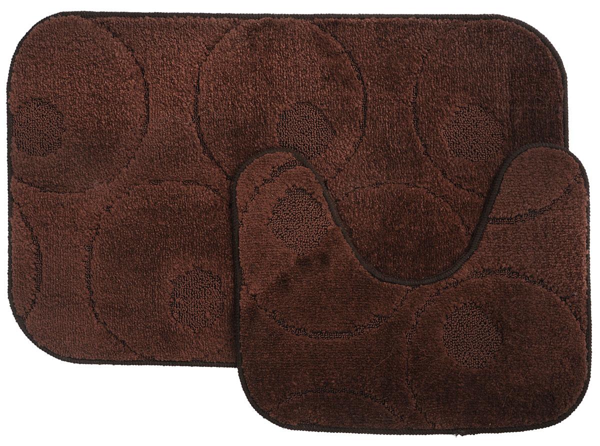 Набор ковриков для ванной MAC Carpet Рома. Круги, цвет: темно-коричневый, 50 х 80 см, 50 х 40 см, 2 штES-412Набор MAC Carpet Рома. Круги, выполненный из полипропилена, состоит из двух ковриков для ванной комнаты, один из которых имеет вырез под унитаз. Противоскользящее основание изготовлено из термопластичной резины. Коврики мягкие и приятные на ощупь, отлично впитывают влагу и быстро сохнут. Высокая износостойкость ковриков и стойкость цвета позволит вам наслаждаться покупкой долгие годы. Можно стирать вручную или в стиральной машине на деликатном режиме при температуре 30°С.