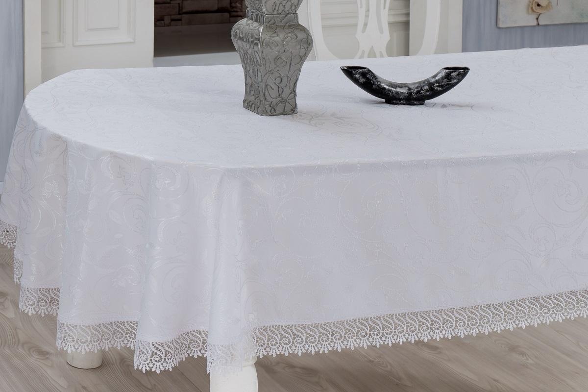 Скатерть Evdy Kdk, квадратная, цвет: белый, 160 х 160 см. 867/3/CHAR001867/3/CHAR001Квадратная скатерть Evdy Kdk выполнена из высококачественного полиэстера и оформлена изящным цветочным узором, края оснащены фестонами. Использование такой скатерти сделает застолье торжественным, поднимет настроение гостей и приятно удивит их вашим изысканным вкусом. Также вы можете использовать эту скатерть для повседневной трапезы, превратив каждый прием пищи в волшебный праздник и веселье. Это текстильное изделие станет изысканным украшением вашего дома!